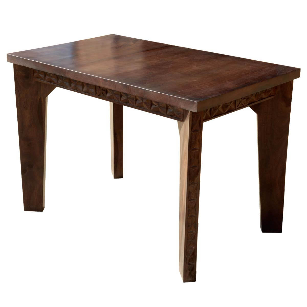 Geometric hand carved solid wood turned leg dining table