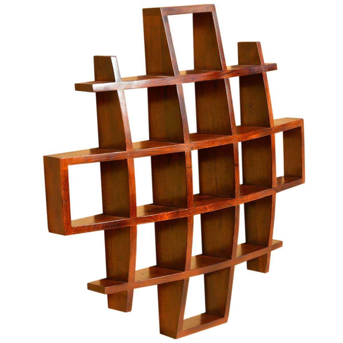 Contemporary wood display wall hanging shelves home decor for Home decor wall hanging