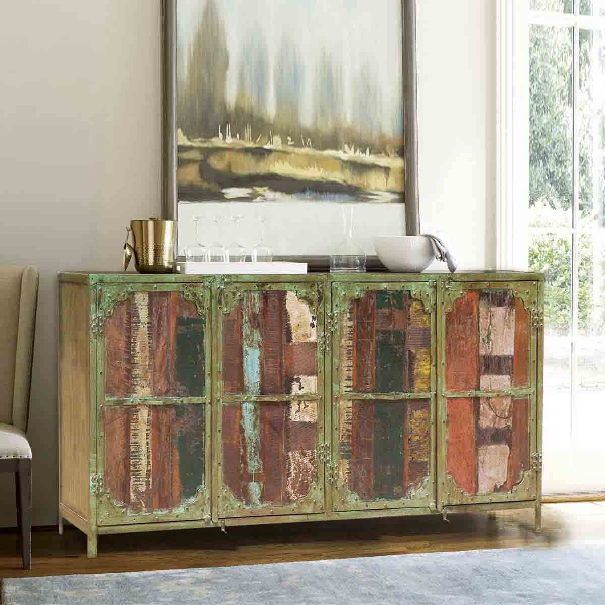 Reclaimed Wooden Buffets ~ Appalachian rustic reclaimed wood door industrial buffet