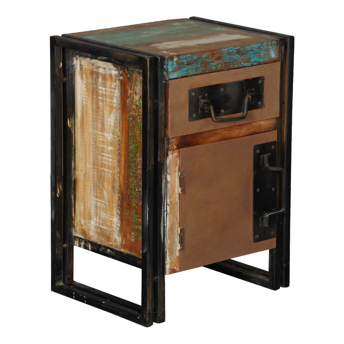 Industrial Night Stand End Table Of Iron Reclaimed Wood