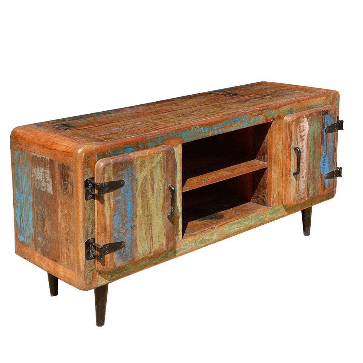 Reclaimed Wood Rustic Media Console TV Stand Unit Entertainment Center Furniture