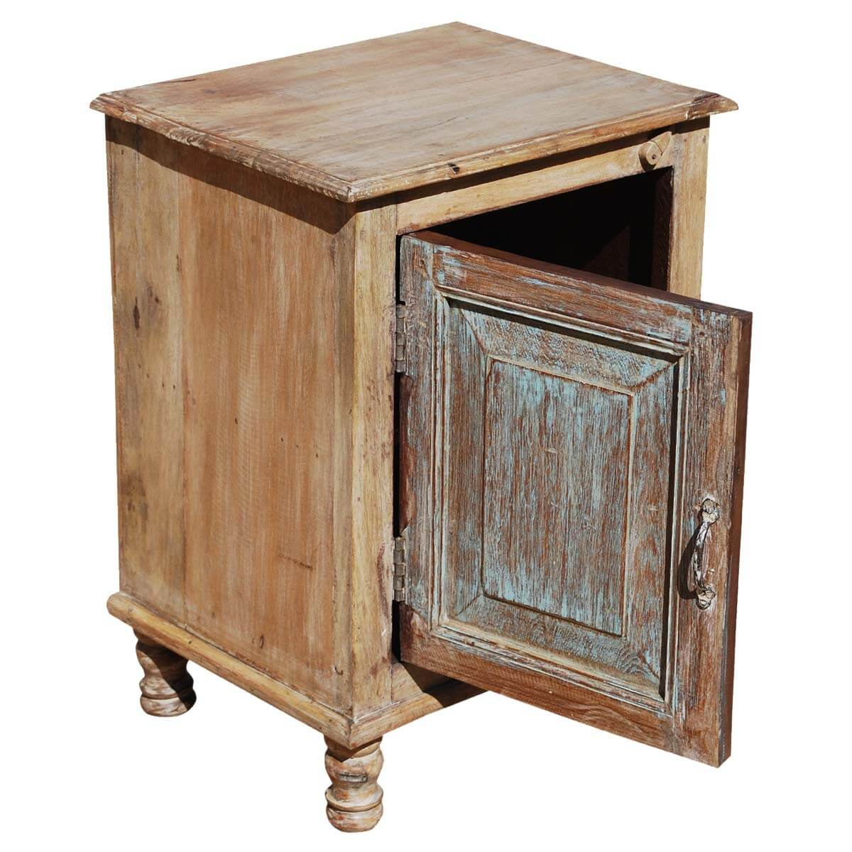Rustic farmhouse reclaimed wood night stand end table cabinet for Reclaimed wood end table