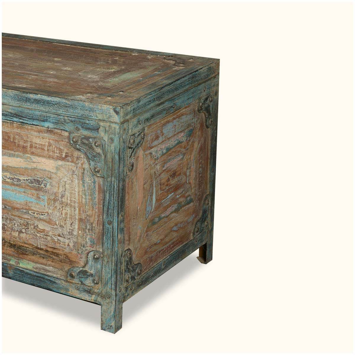 Lost Treasures Reclaimed Wood Iron Standing Coffee Table Chest
