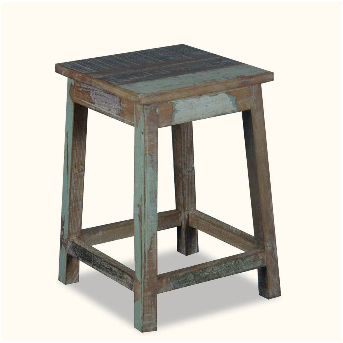 Square Rustic Reclaimed Wood 18 Quot Pedestal End Table Stool