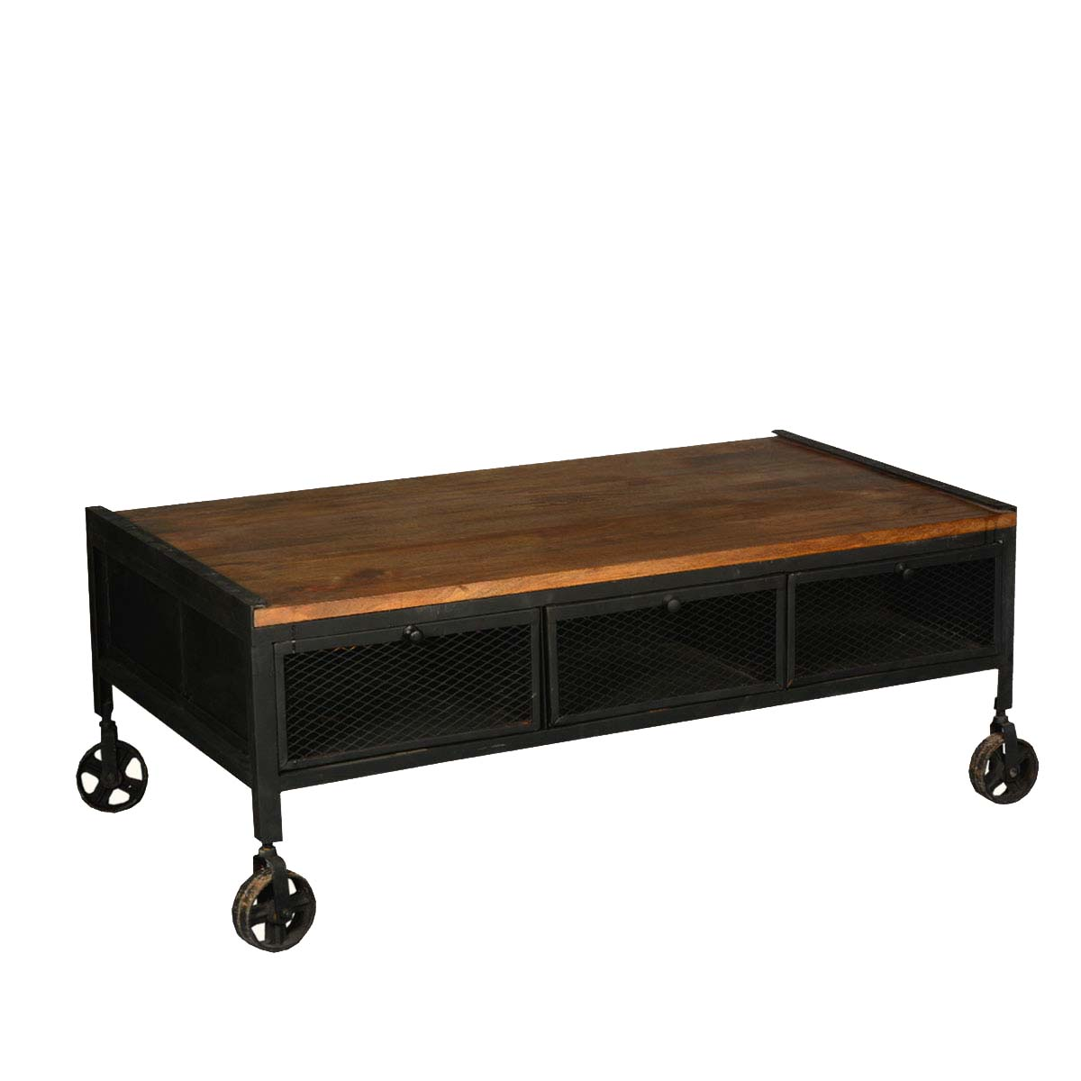industrial rustic reclaimed wood & iron rolling double x coffee table