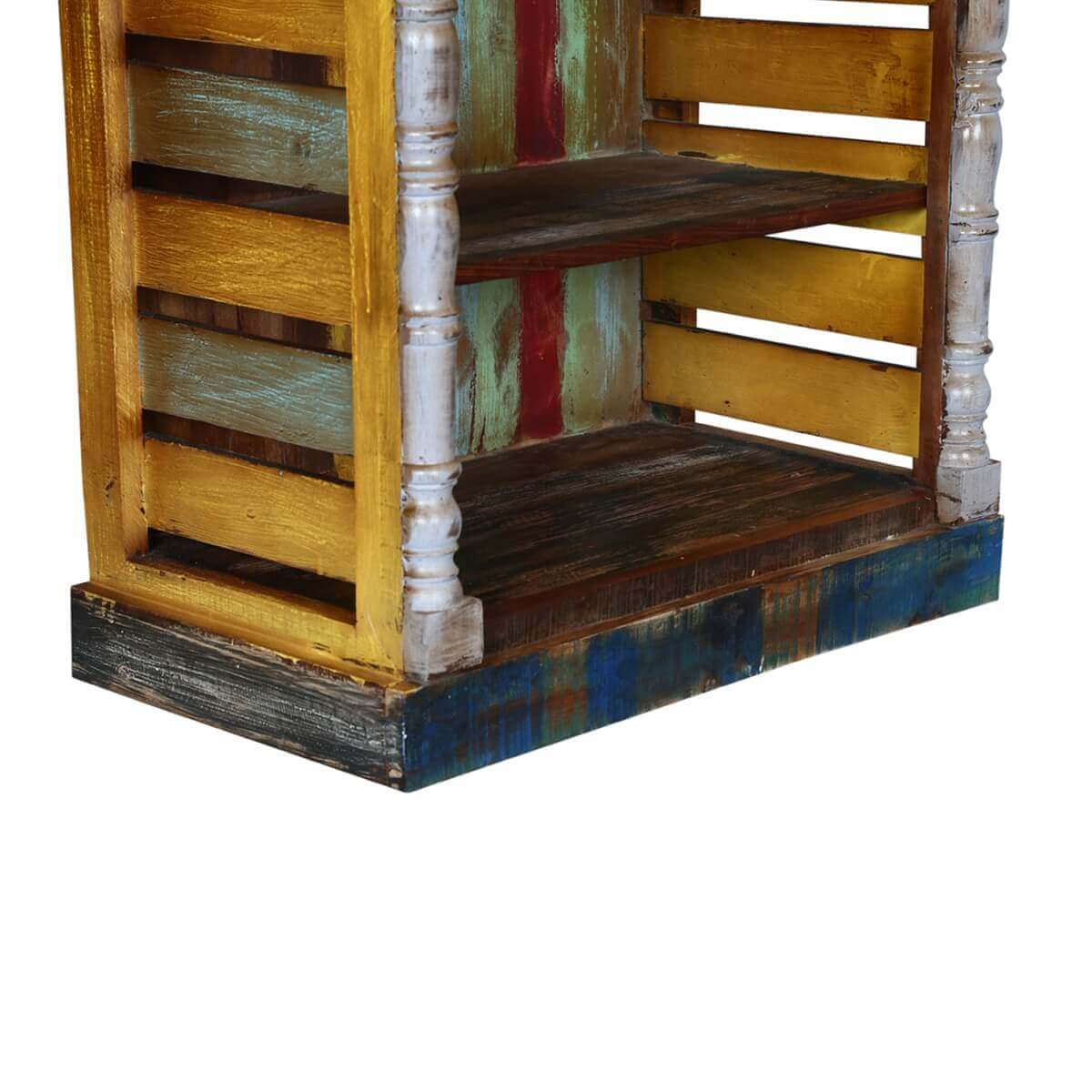 Wood Book Rack ~ Rustic art multi color reclaimed wood book shelf