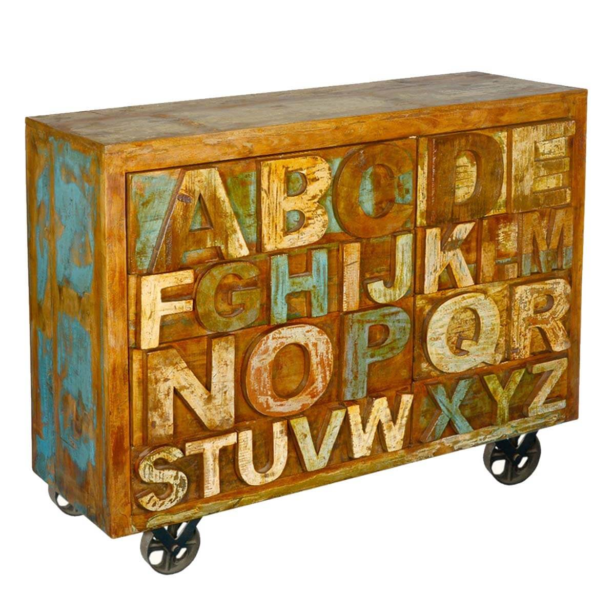 Hand Carved ABC 8 Drawers Dresser Chest Reclaimed Wood Furniture