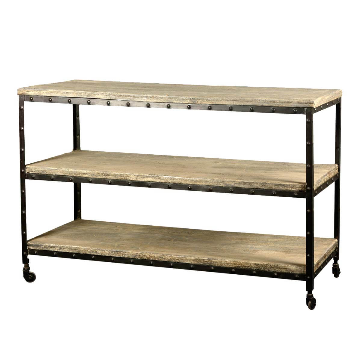 Rawson Reclaimed Wood & Iron Long 3 Tier Rolling Cart