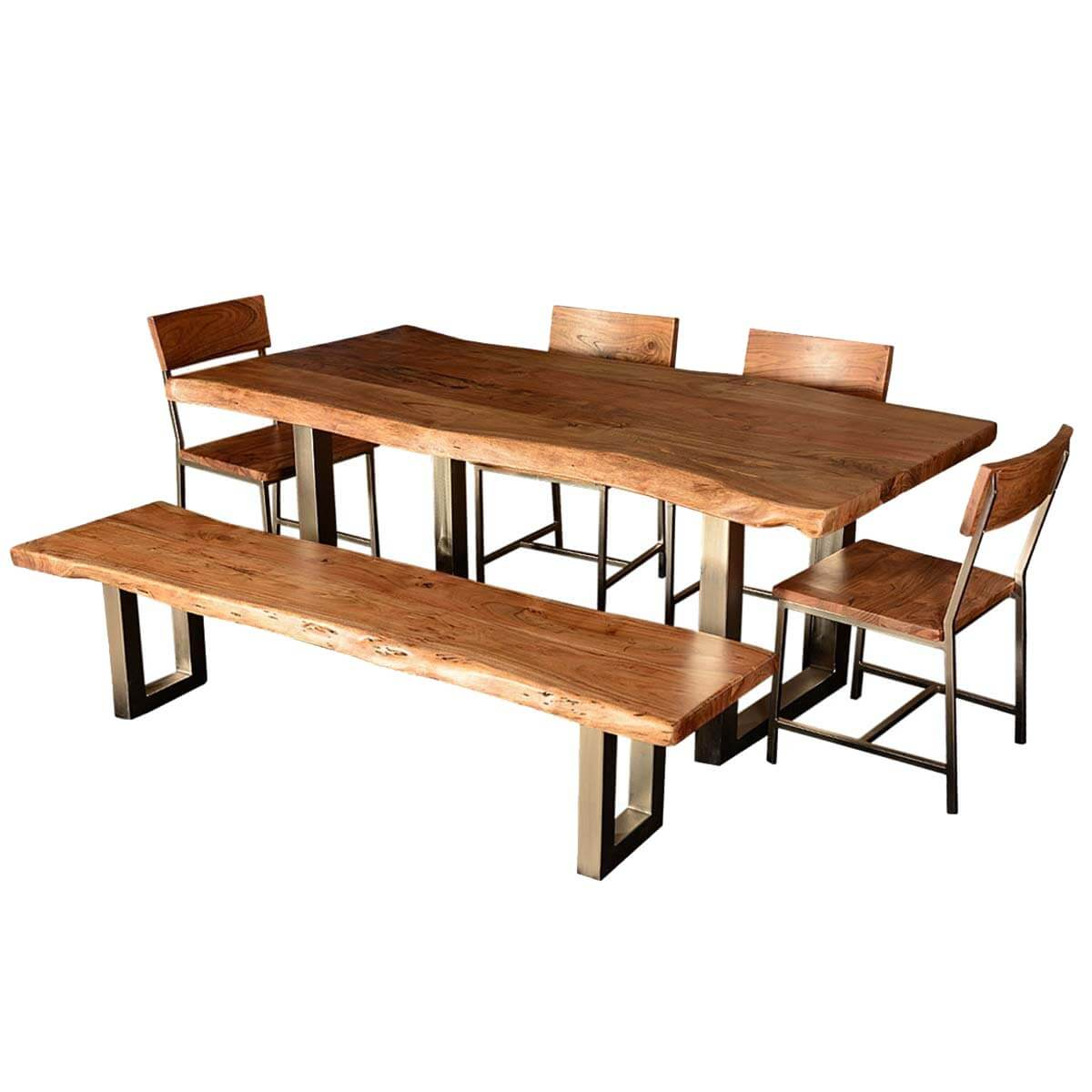 Hankin wood iron base live edge dining table for Bench style dining set