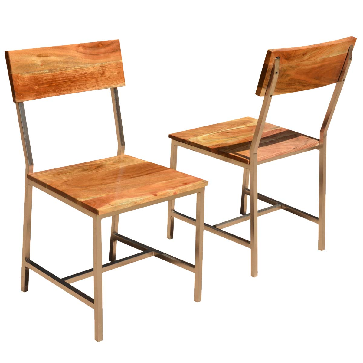 Solid wood iron rustic dining chair set of