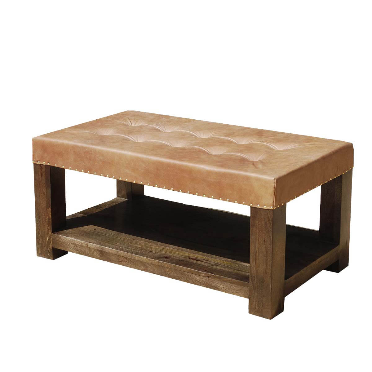 Solid Mango Wood Leather Top Traditional Pot Board Coffee Table