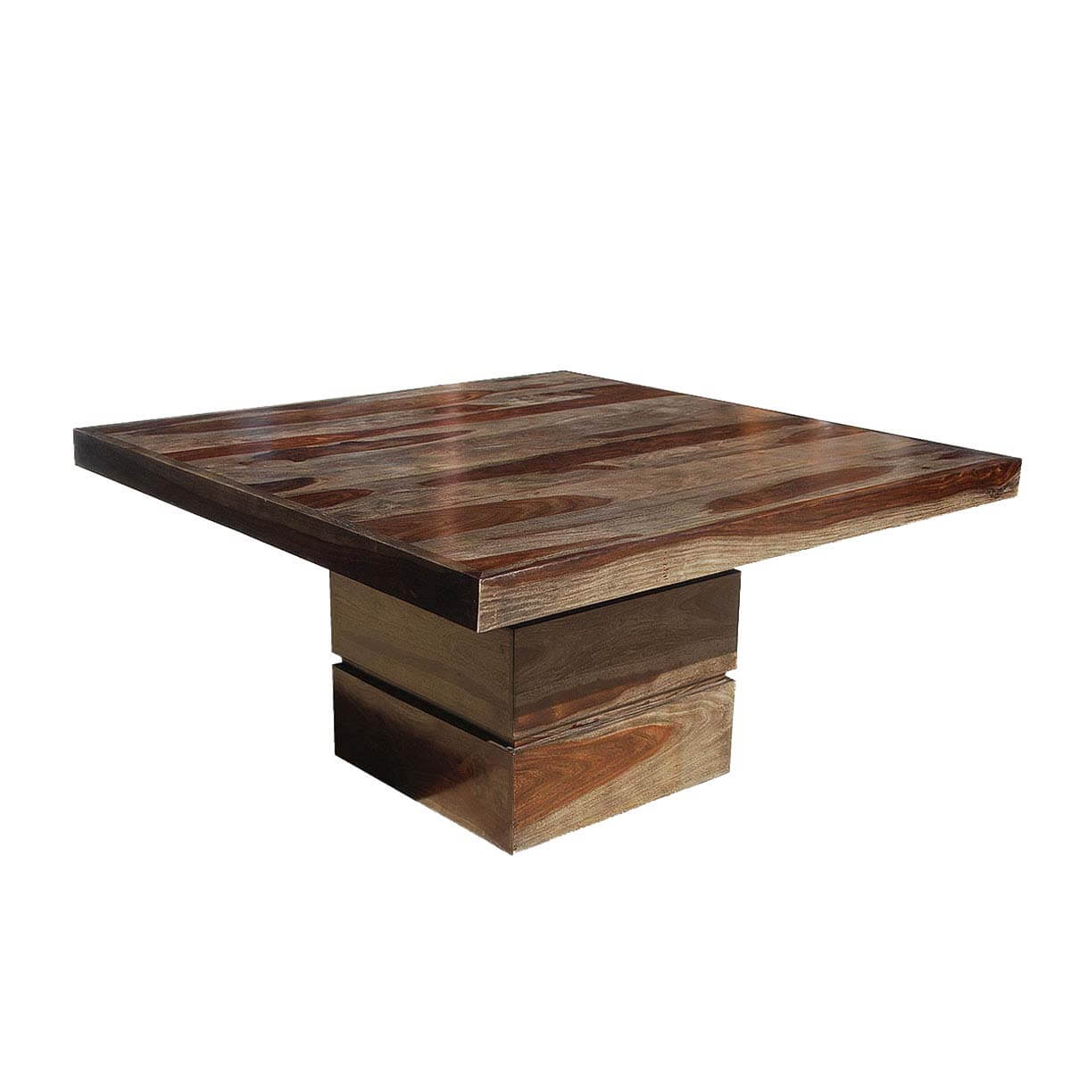 Tables rustic solid wood trestle pedestal base harvest dining table - Dallas Modern Solid Wood 48 Square Pedestal Dining Table