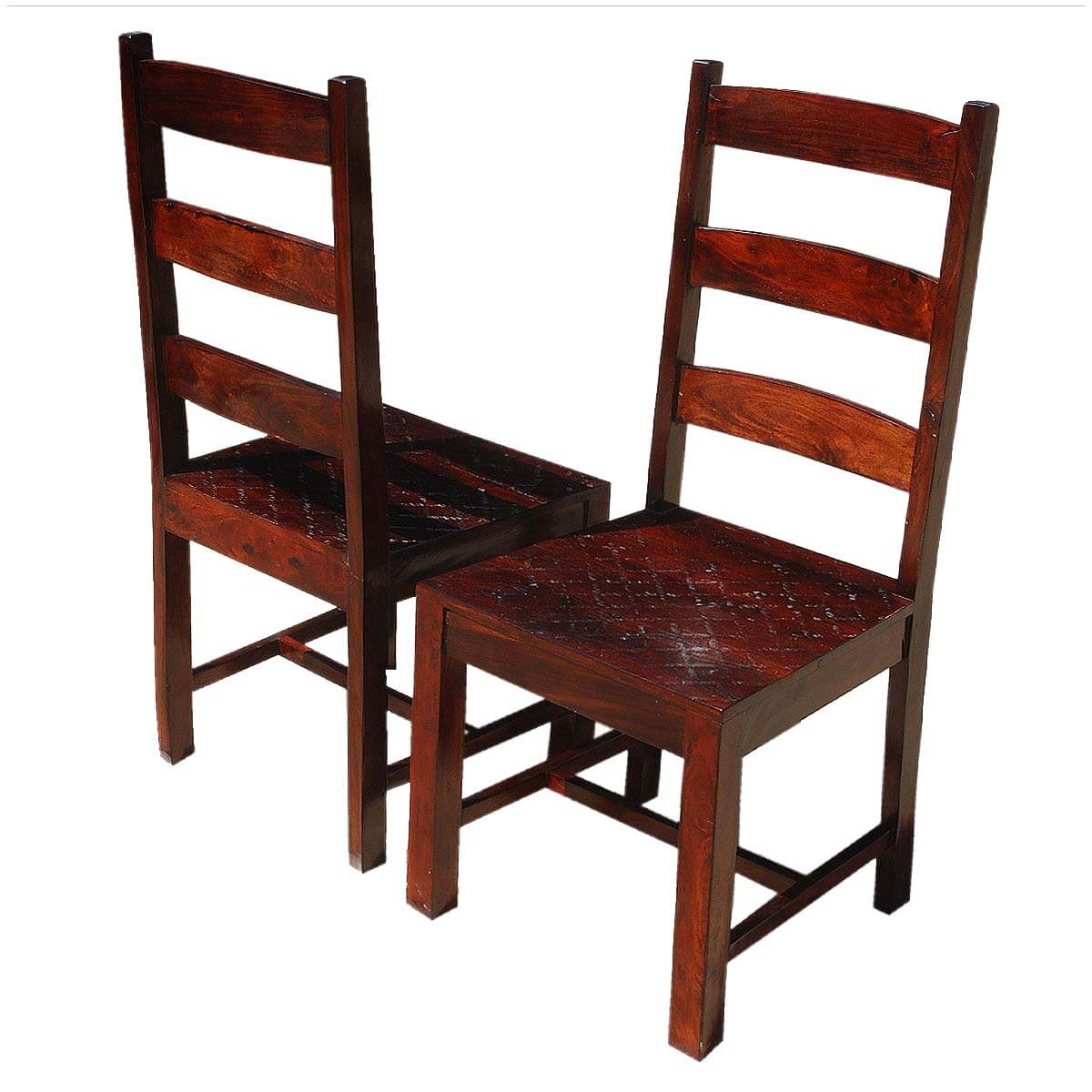 Oklahoma Farmhouse Indian Rosewood Ladder Back Chairs Set Of 2