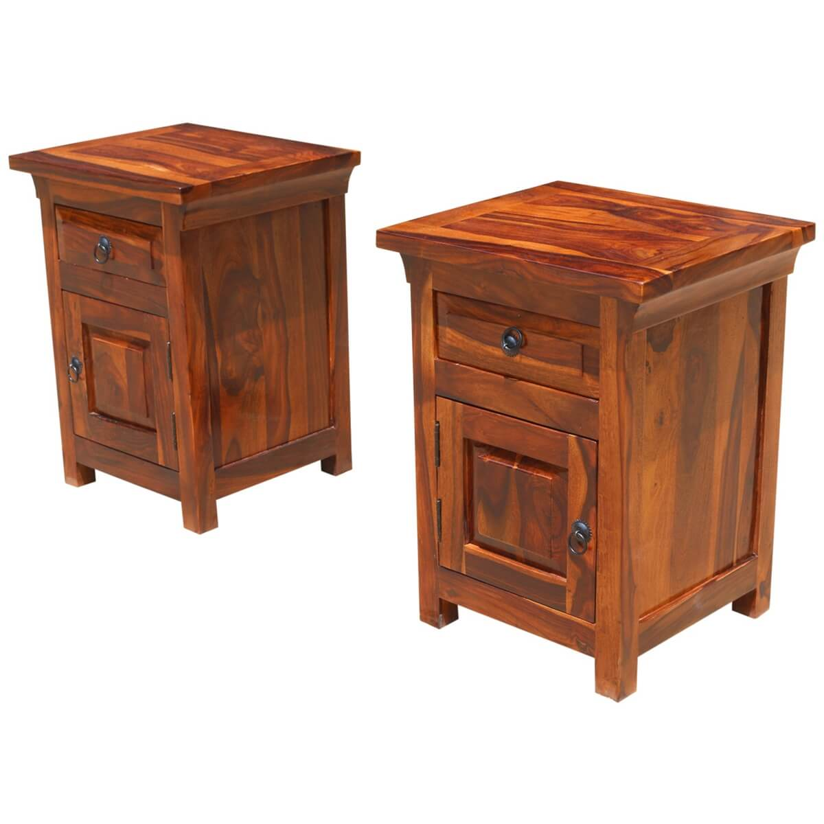 Rustic farmhouse solid wood nightstand end table cabinets for Solid wood farmhouse table
