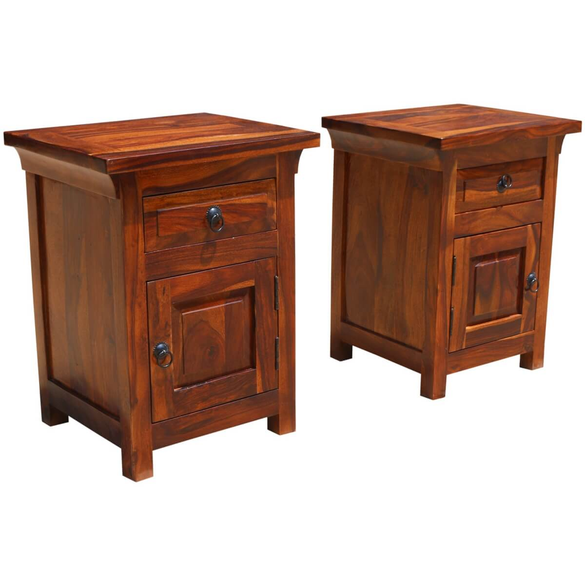 Afton rustic farmhouse solid wood 1 drawer nightstand for Farmhouse end table set
