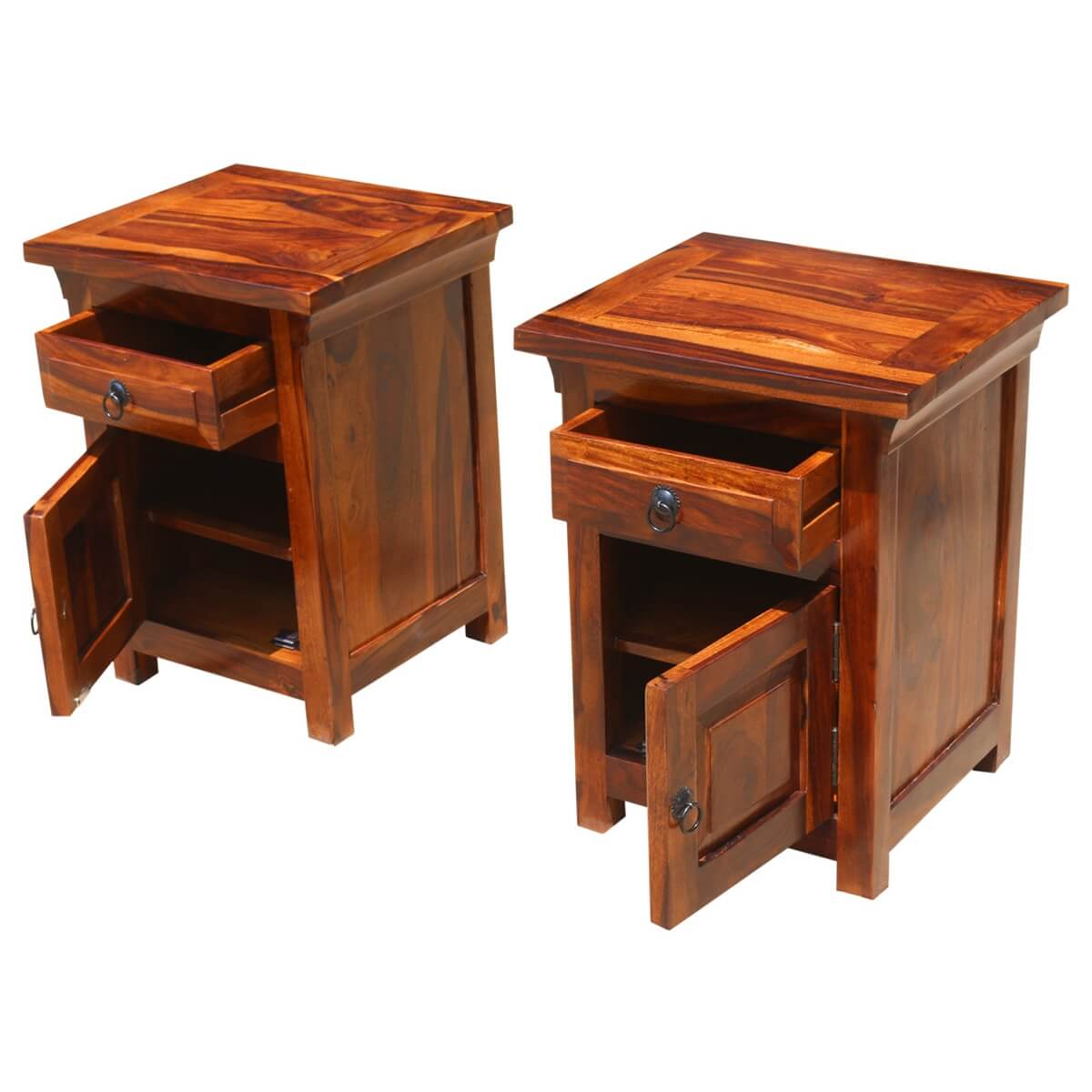 Rustic farmhouse solid wood nightstand end table cabinets for Rustic wood nightstand