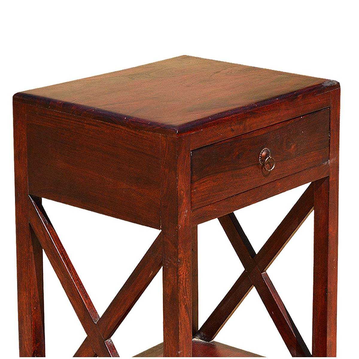 Superior ... Double X Indian Rosewood 2 Tier Night Stand End Table W Drawer ...