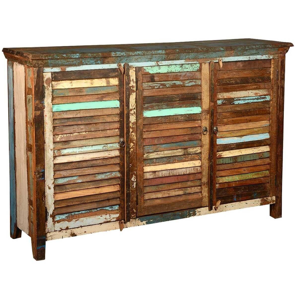 Stockton rustic reclaimed wood shutter door large buffet