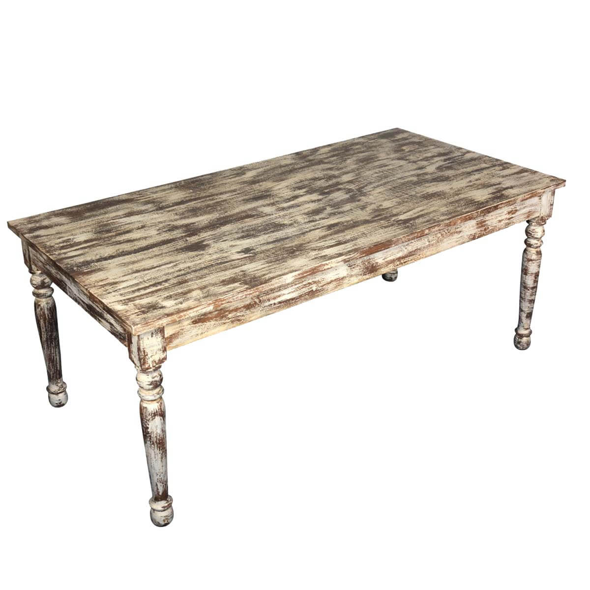 Distressed White Finish Mango Wood Farmhouse Dining Table