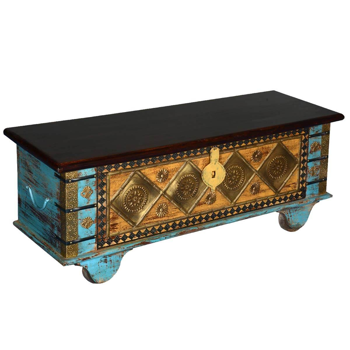 Diamond mango wood rolling coffee table chest golden diamond mango wood rolling coffee table chest geotapseo Gallery