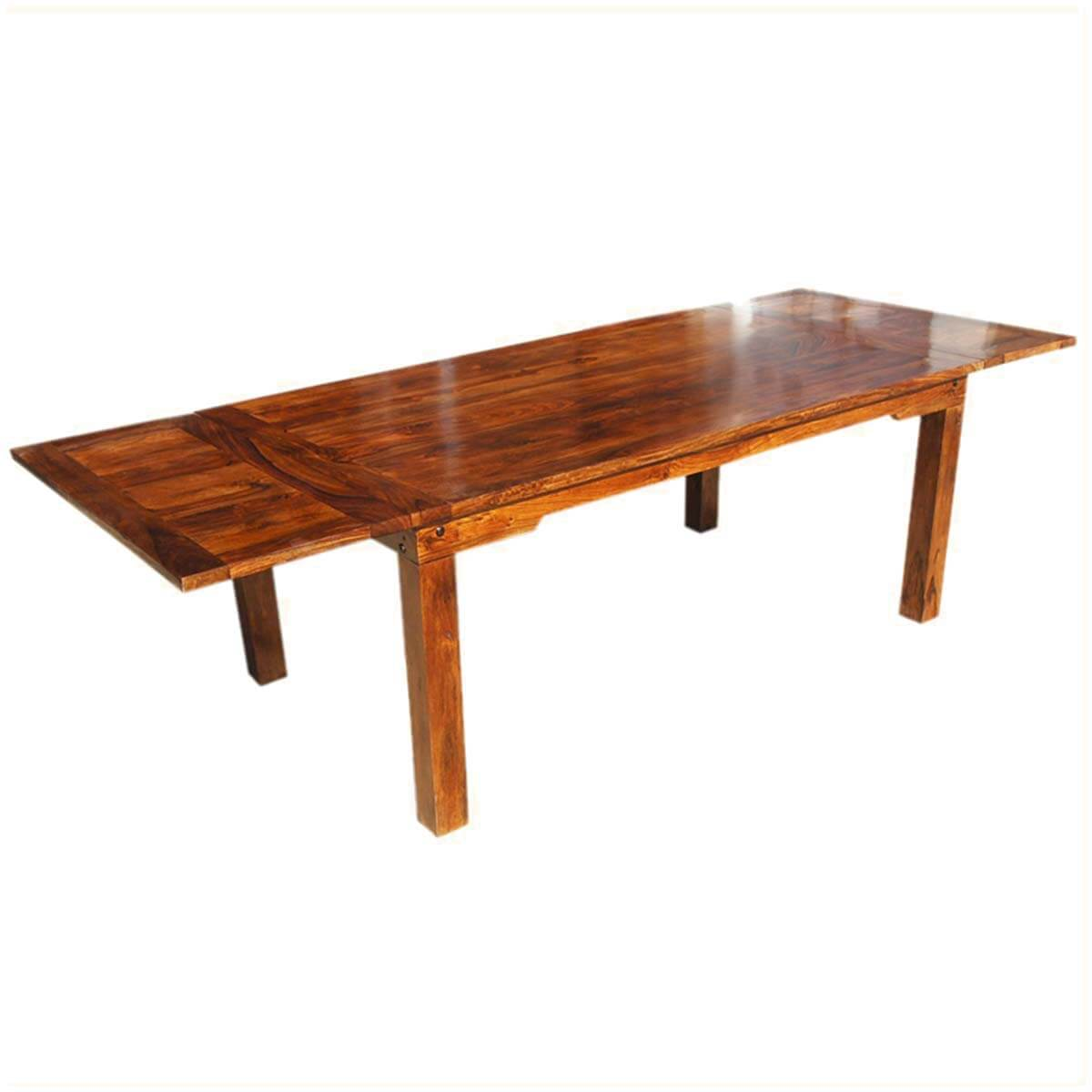Solid Wood Dining Table By H F: Solid Wood Transitional Rustic Dining Table W Extensions