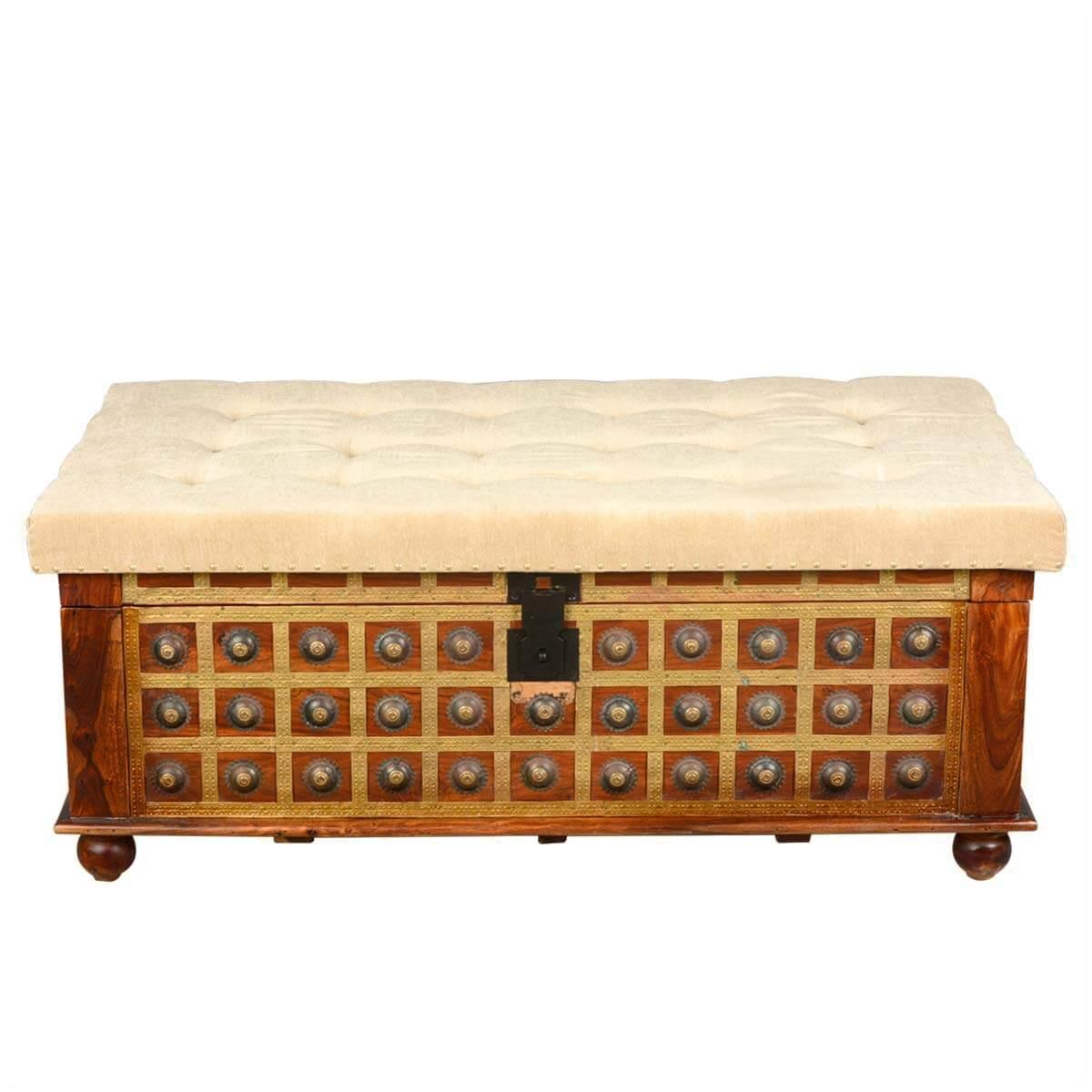 Wood & Brass Everett Upholstered Bedroom Storage Trunk