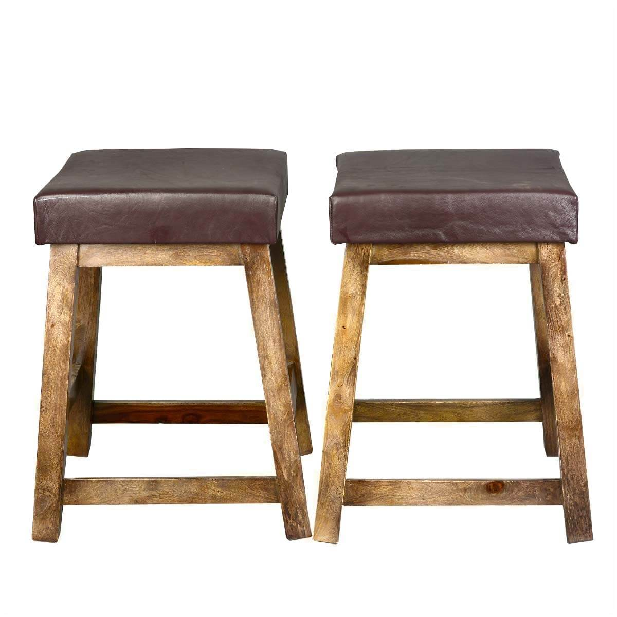solid wood leather upholstered duff square counter stool set of 2. Black Bedroom Furniture Sets. Home Design Ideas