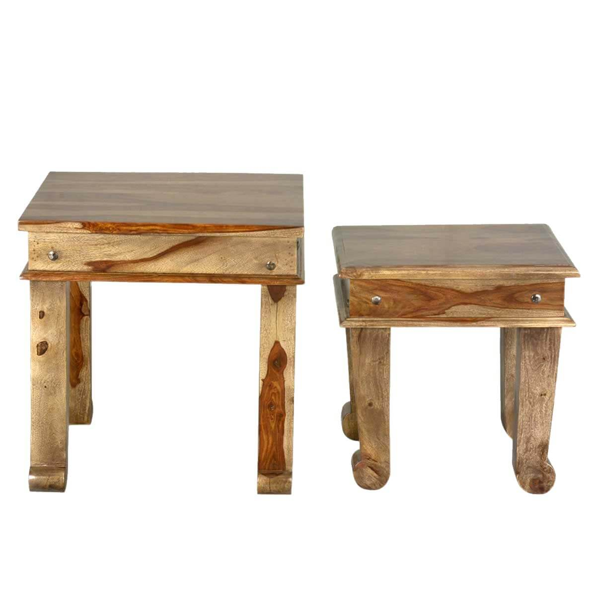 Dallas Ranch Indian Rosewood Club Foot Square End Table Set of 2