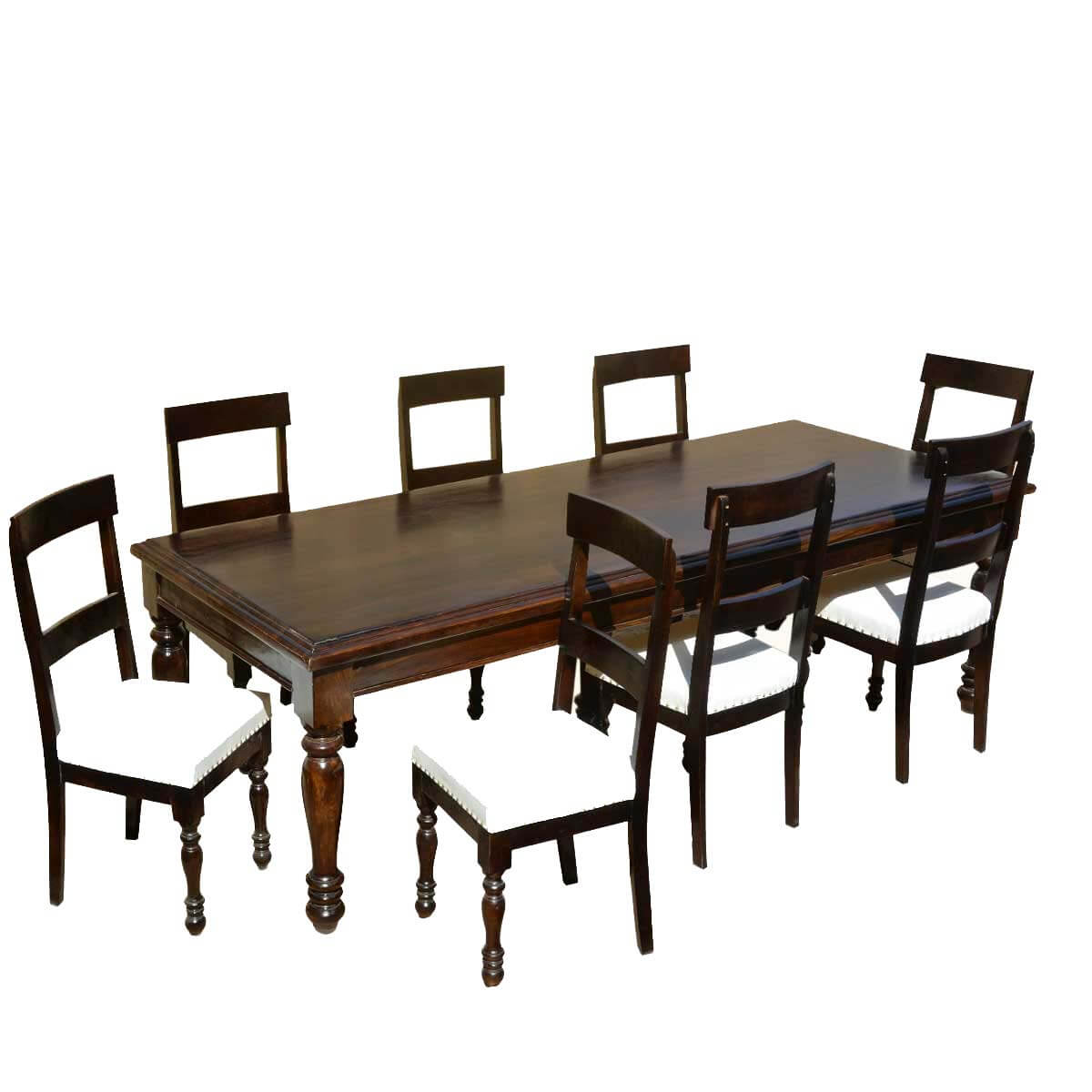 American acacia wood dining table leather upholstered chairs for Dining table leather chairs