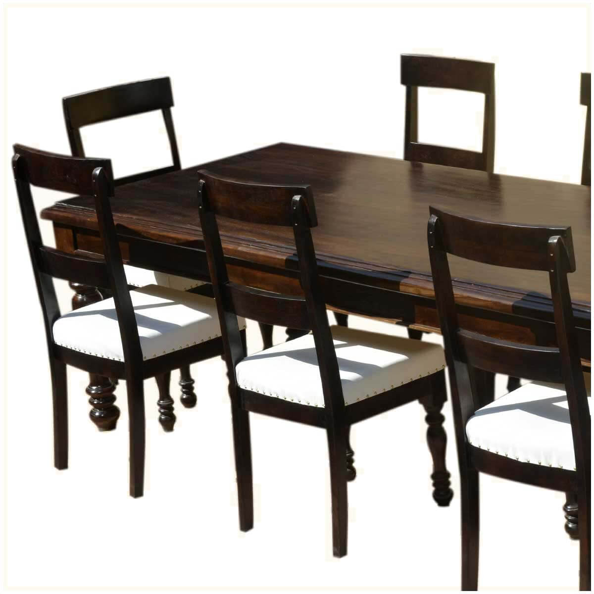 American acacia wood dining table leather upholstered chairs for Wood and leather dining chair