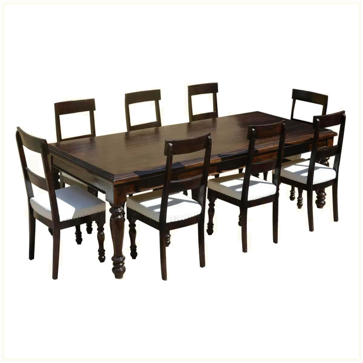 American acacia wood dining table leather upholstered chairs for Leather upholstered dining chairs