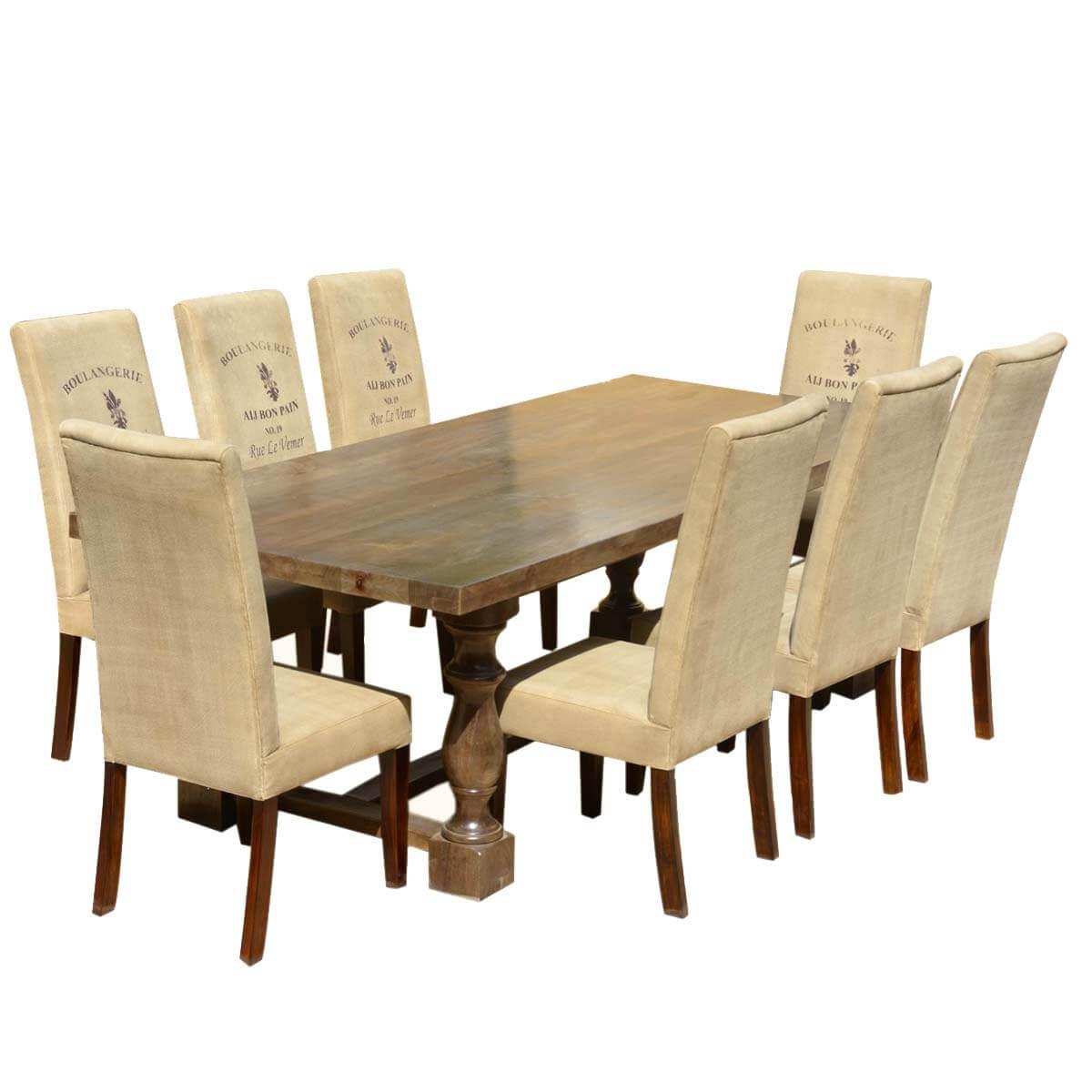 Cafe Logo Mango Dining Table Set With Fabric Upholstered