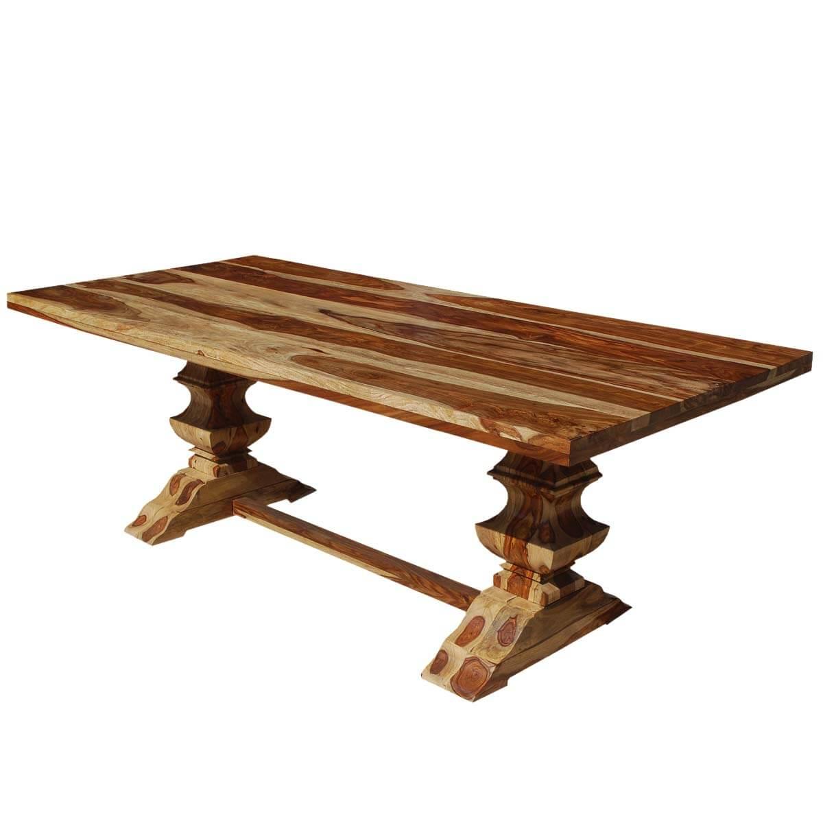 Dallas ranch trestle pelham solid wood dining table for 8 for Solid wood dining table