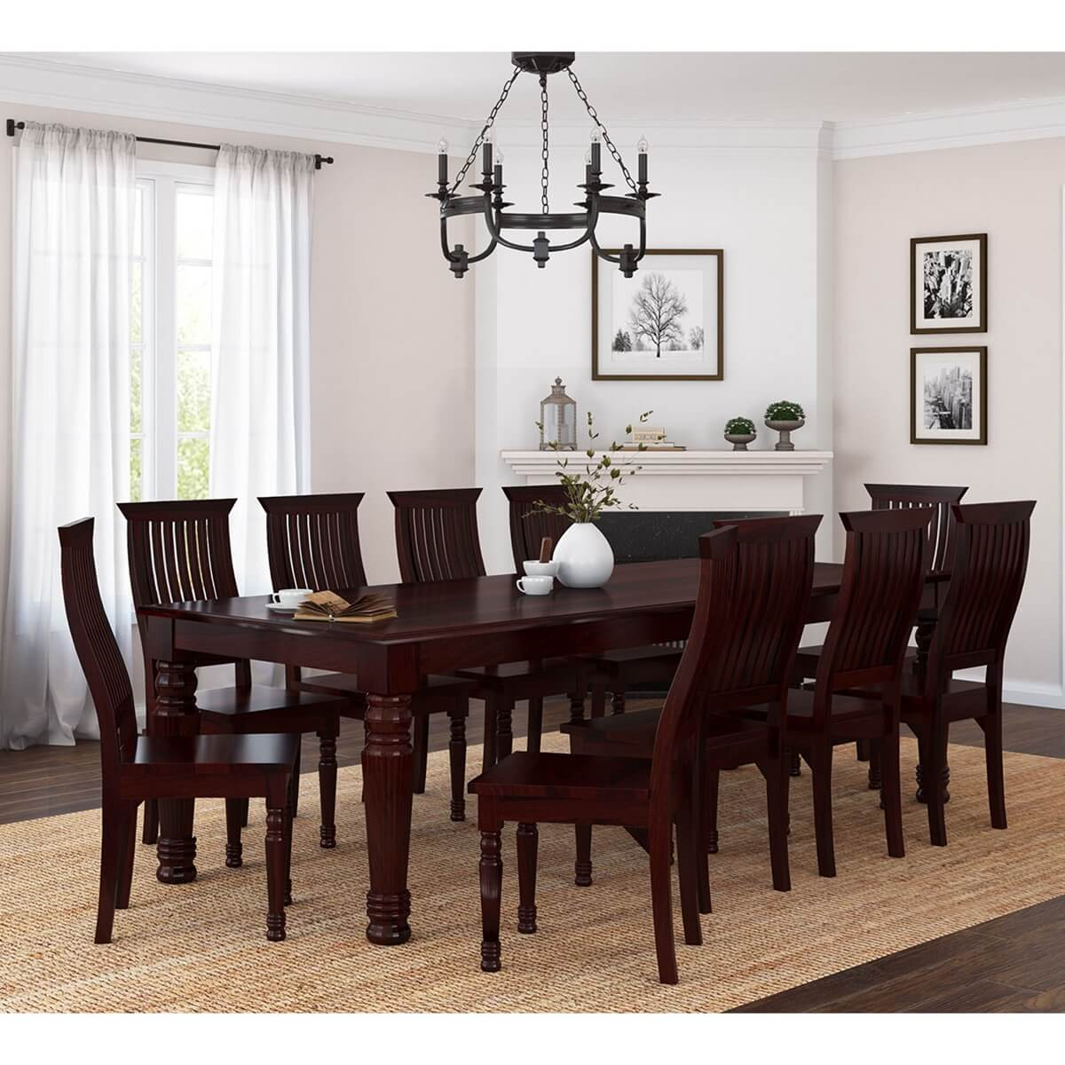Dining Room Table For 10: Colonial American Large Rustic Wood Dining Table And 10