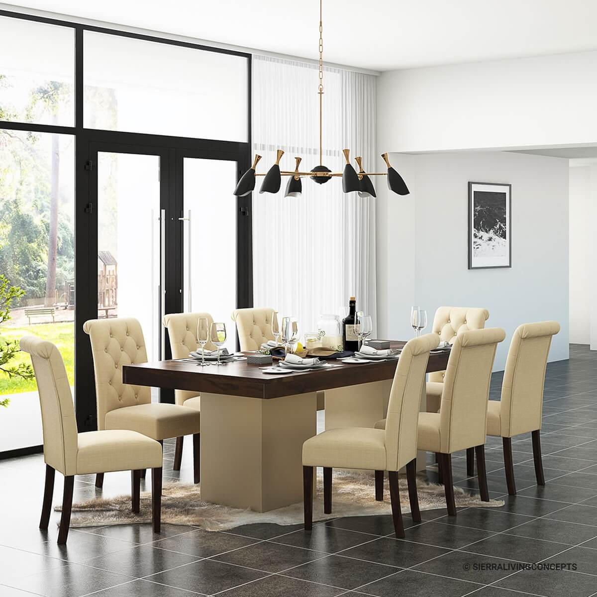 Leather parsons dining room chairs black leather parsons for Leather parsons chairs dining room