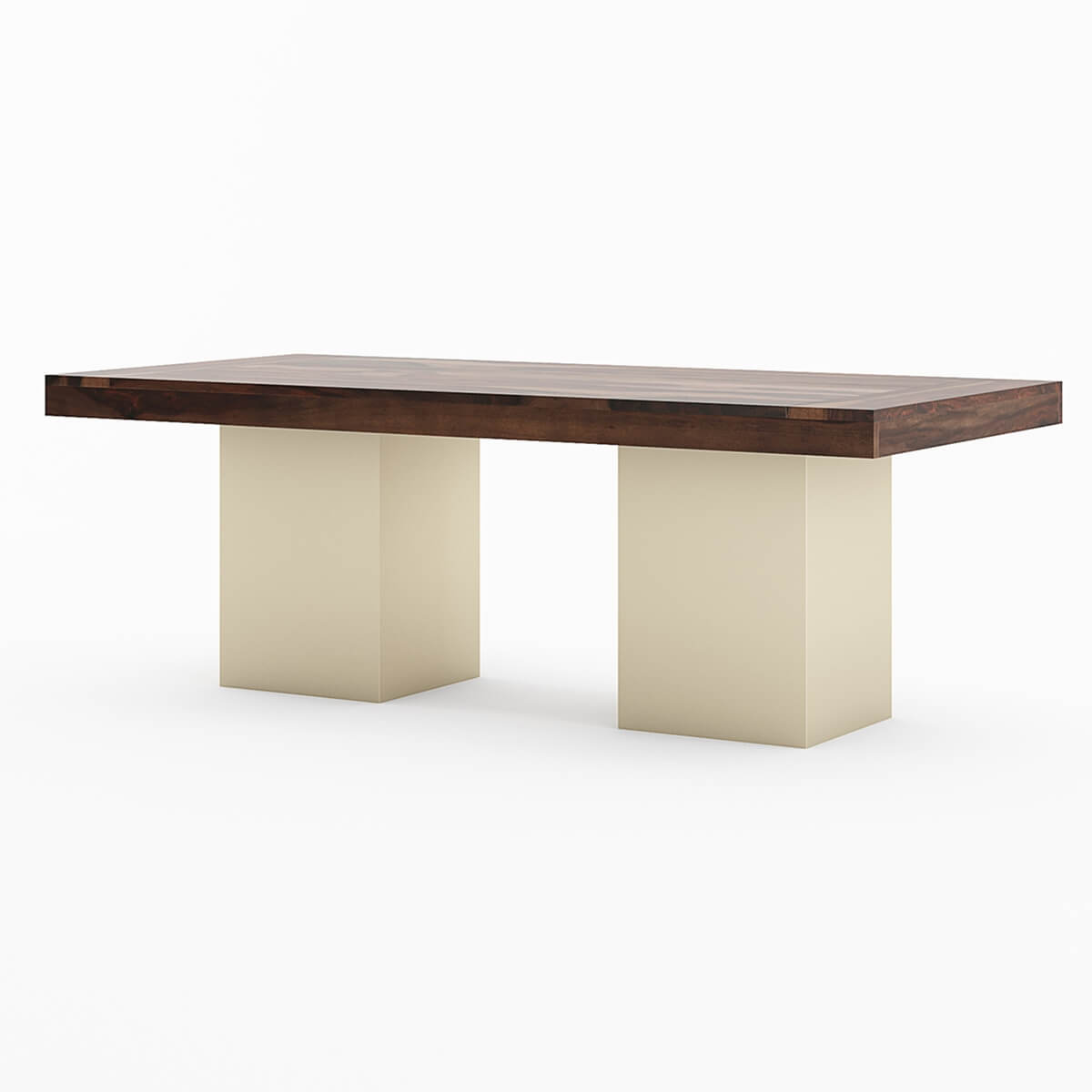 120 sierra large solid wood sutton pedestal modern dining for Modern wood dining room table