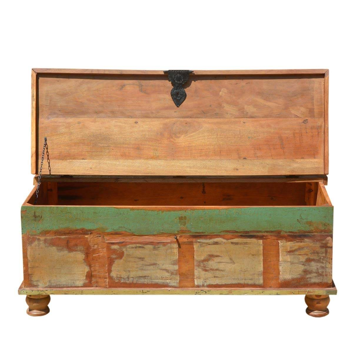 Reclaimed Wood Stump Coffee Table: Grinnell Rustic Reclaimed Wood Coffee Table Storage Trunk