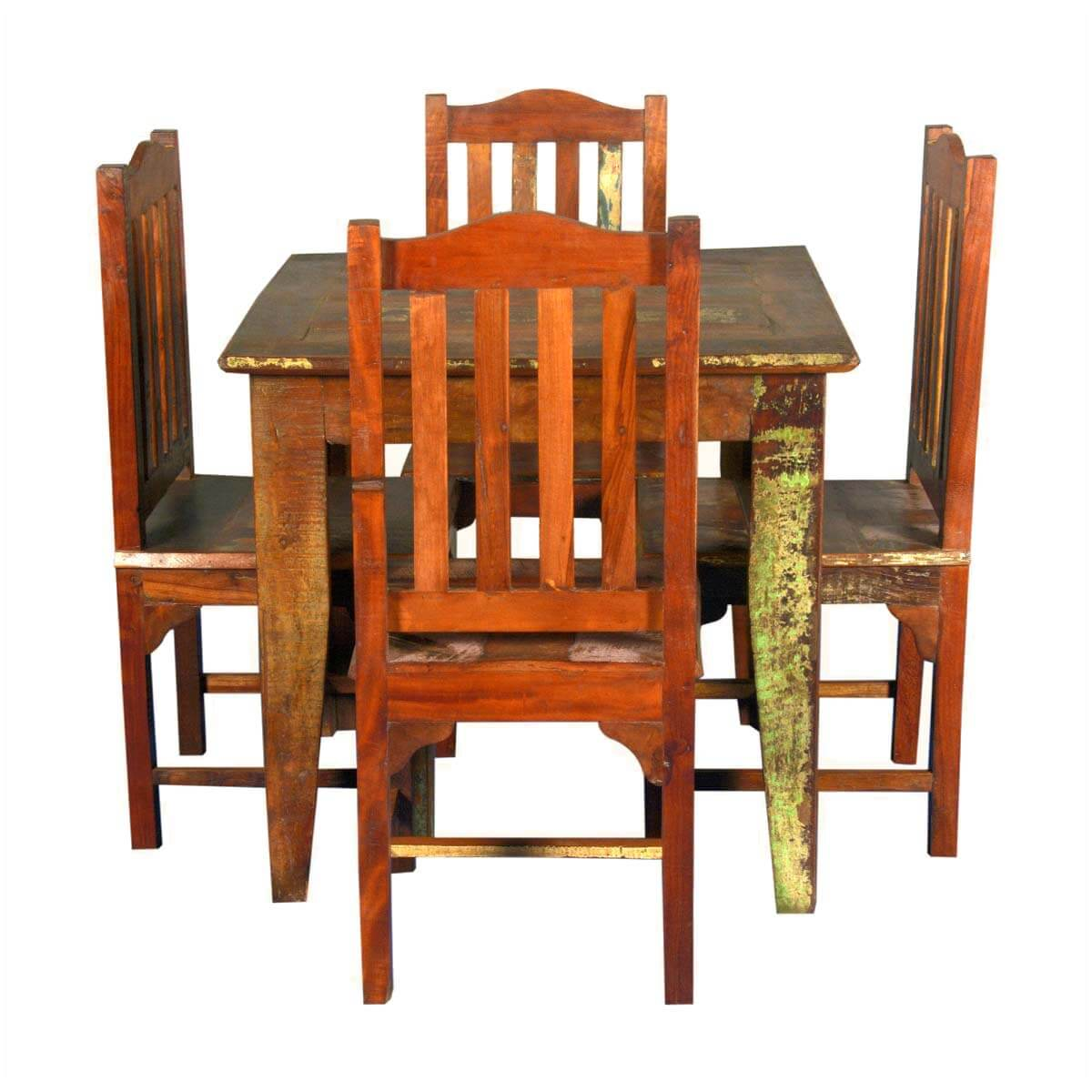 Norwalk Reclaimed Wood Square Dining Table With 4 Chairs Set