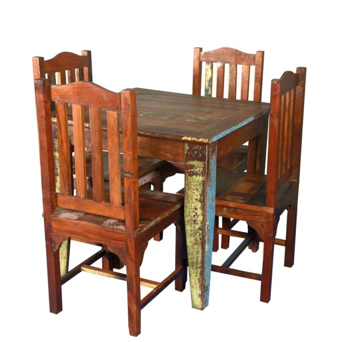 norwalk reclaimed wood square dining table with 4 chairs set. Black Bedroom Furniture Sets. Home Design Ideas