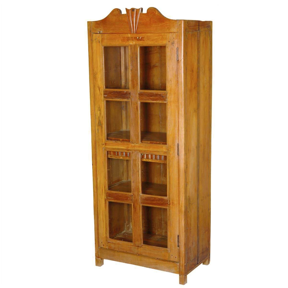 Colonial Solid Teak Glass Single Door Display Curio Cabinet