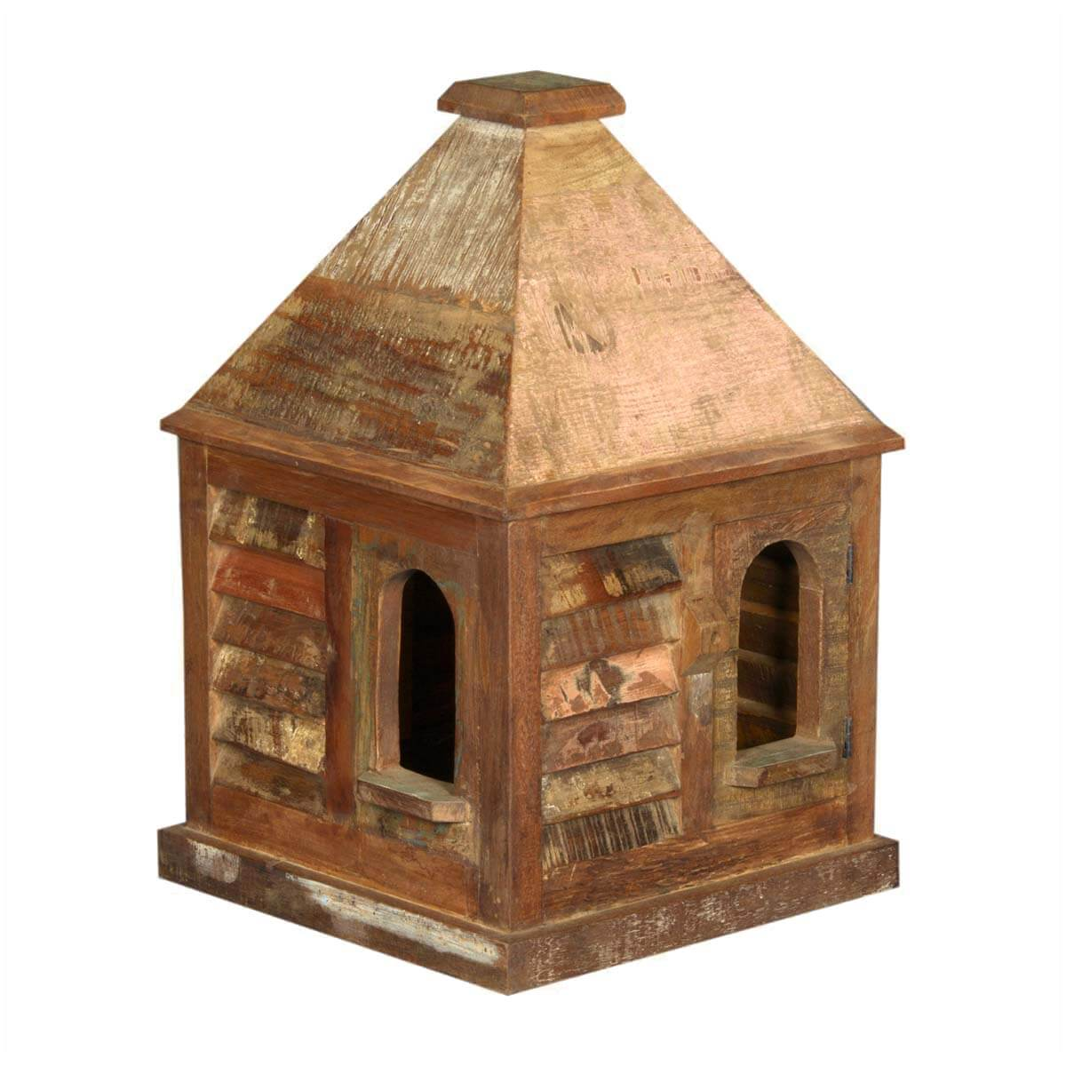 Rustic Log Cabin Reclaimed Wood Slopping Roof Bird House