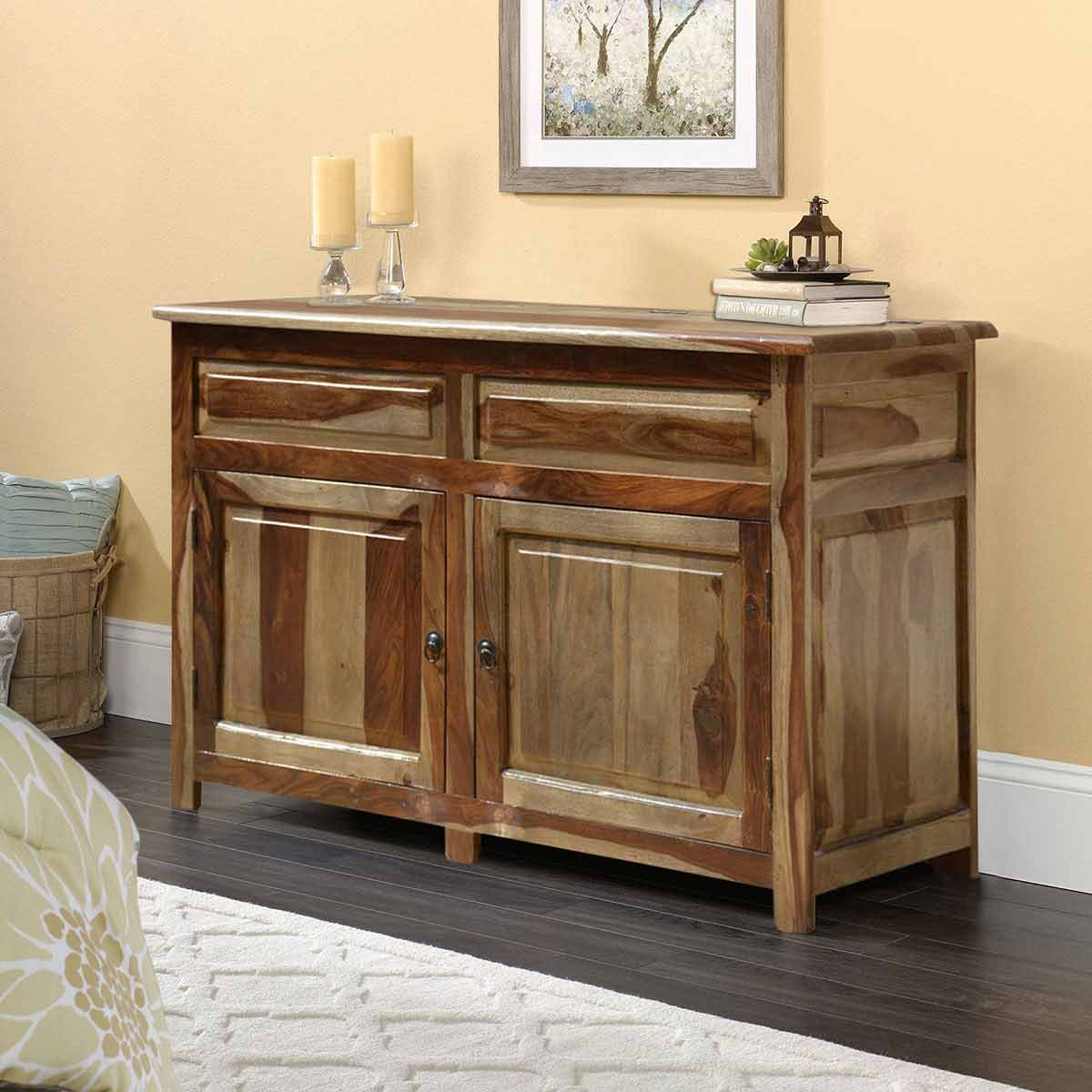 Solid Wood Lift-Top Storage Cabinet Buffet