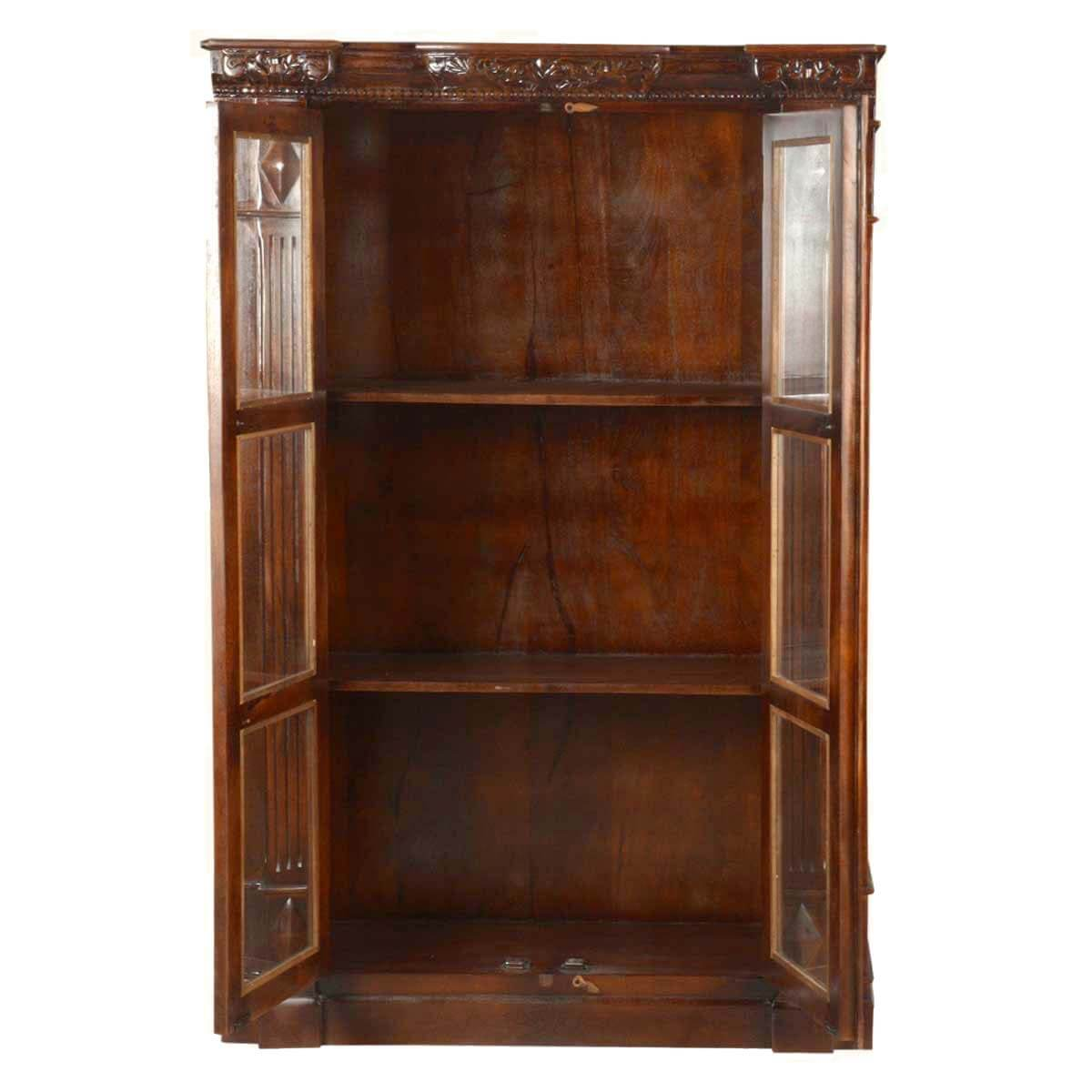 Traditional Wooden Barrister Bookcase Glass Door Armoire