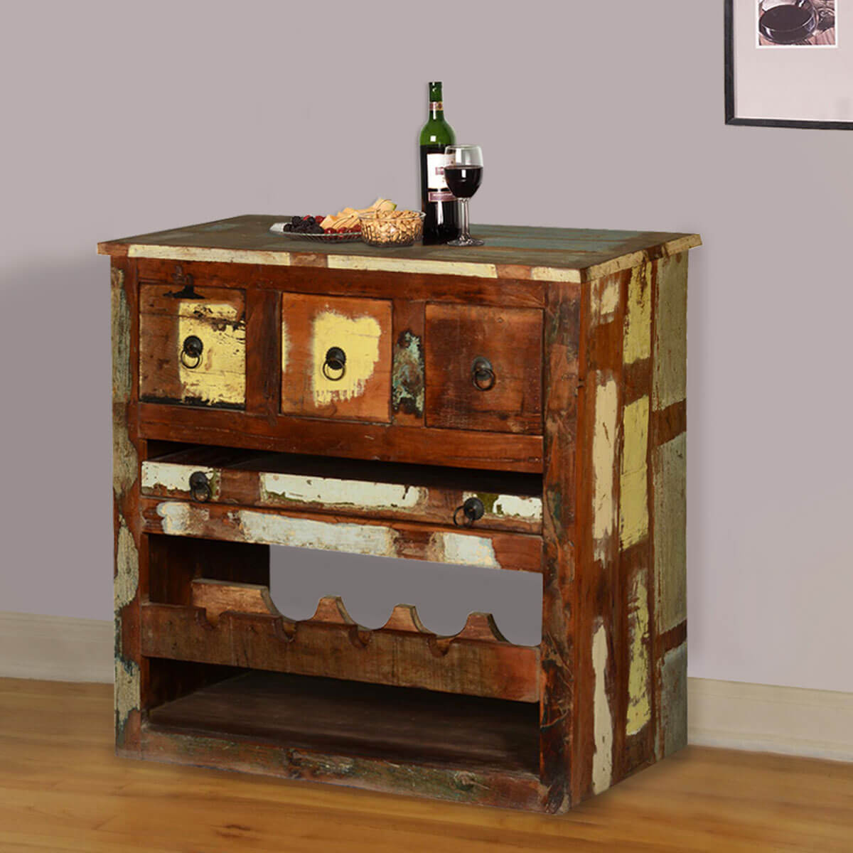 whitney rustic reclaimed wood wine bar cabinet