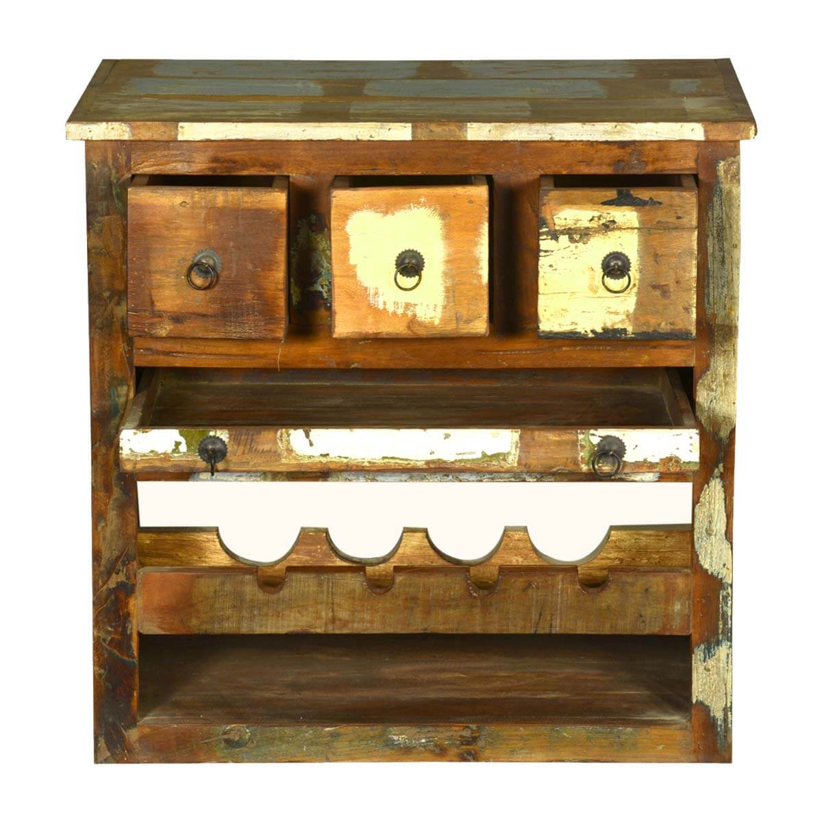 ... Whitney Rustic Reclaimed Wood Wine Bar Cabinet ... - Whitney Rustic Reclaimed Wood Wine Rack Liquor Storage Cabinet