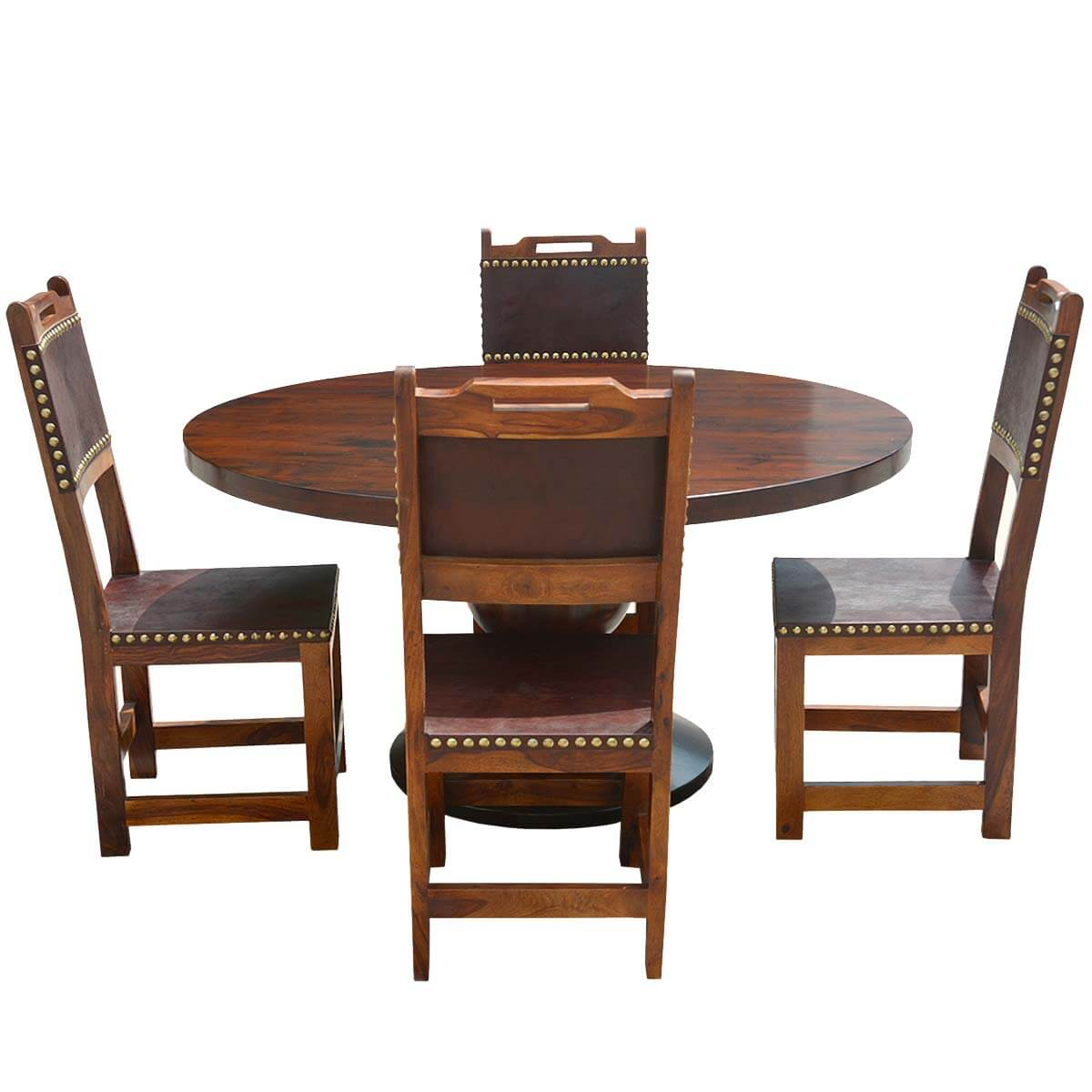 Santa ana round kitchen dining table set with leather back for Leather back dining chairs