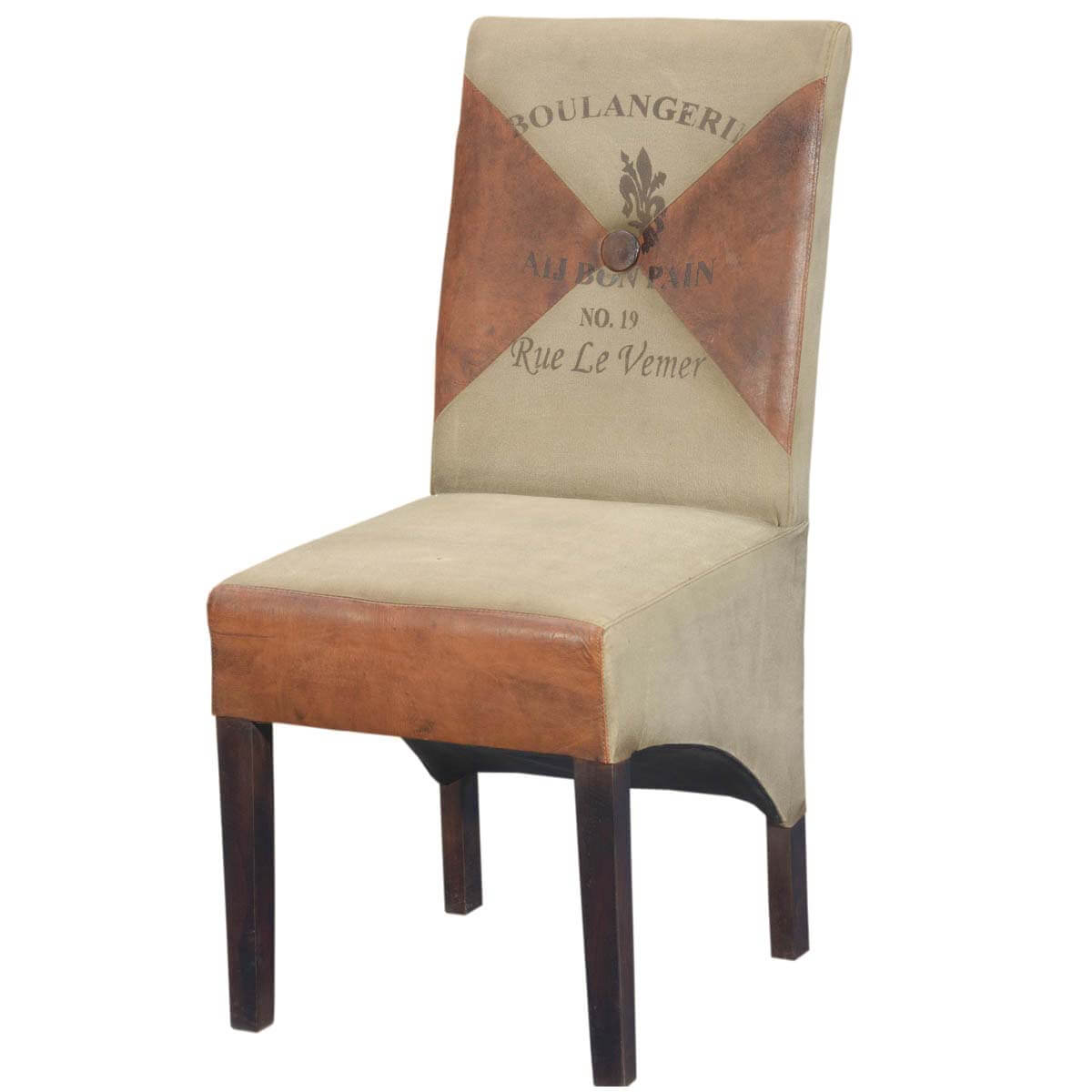 Stylish Contemporary Leather and Fabric Upholstered Parson Chair