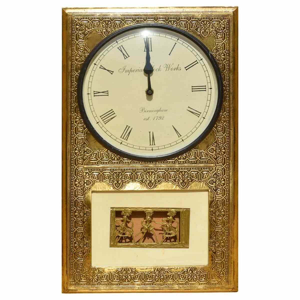 3 Dancers Brass Mango Wood Framed Roman Numeral Wall Clock - 3-roman-numerals-clocks