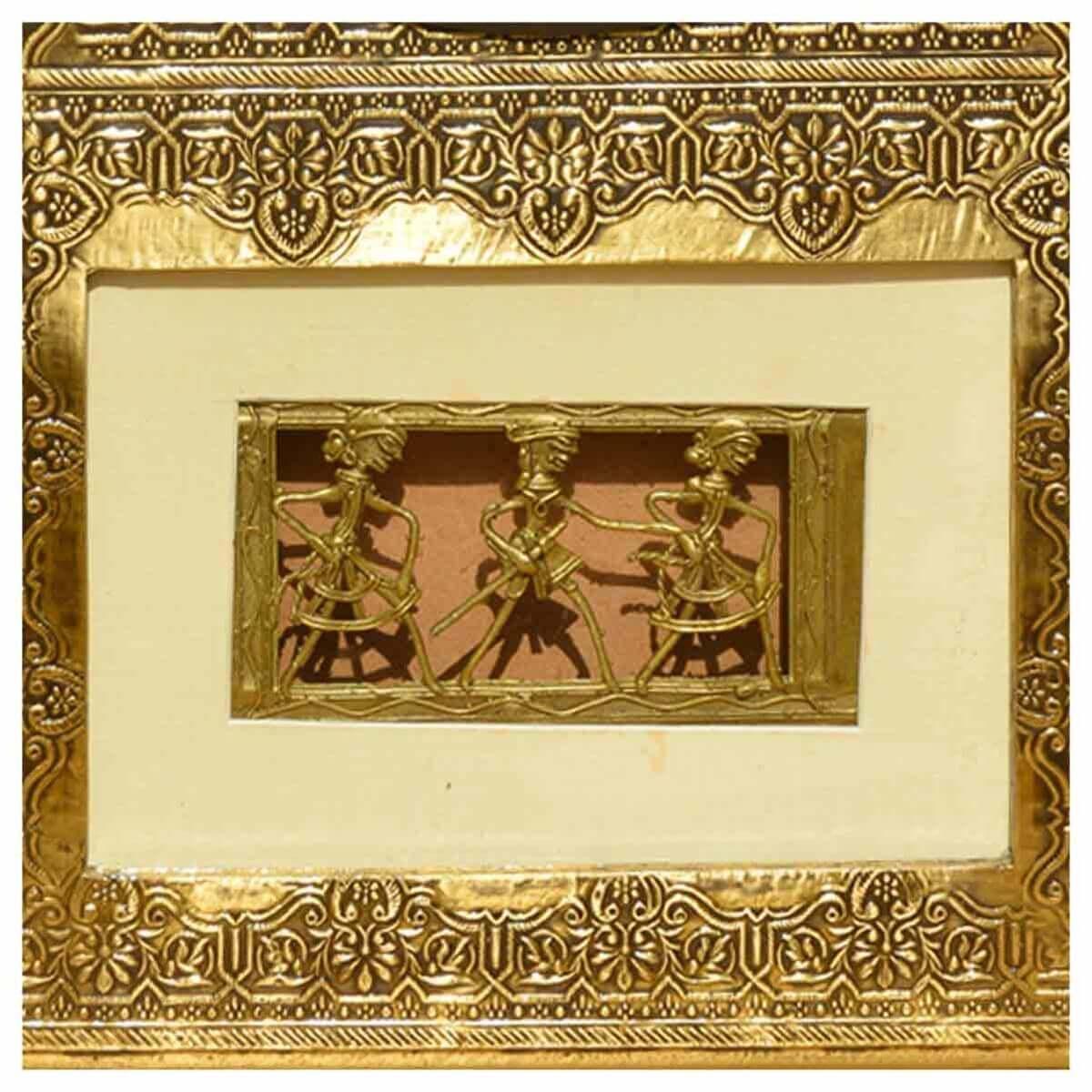 3 Dancers Brass & Mango Wood Framed Roman Numeral Wall Clock