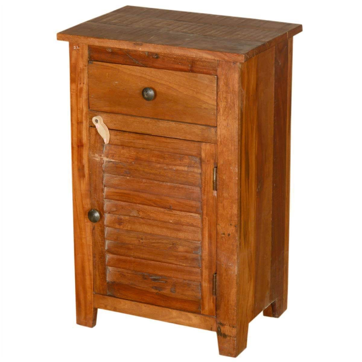 Oklahoma Farmhouse Old Wood Shutter Door End Table Night Stand
